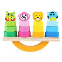 Wooden Animal Balance Building Blocks Set Oyuncak Toys For Children With Autism Color Shape Matching Game Brinquedos Juguetes