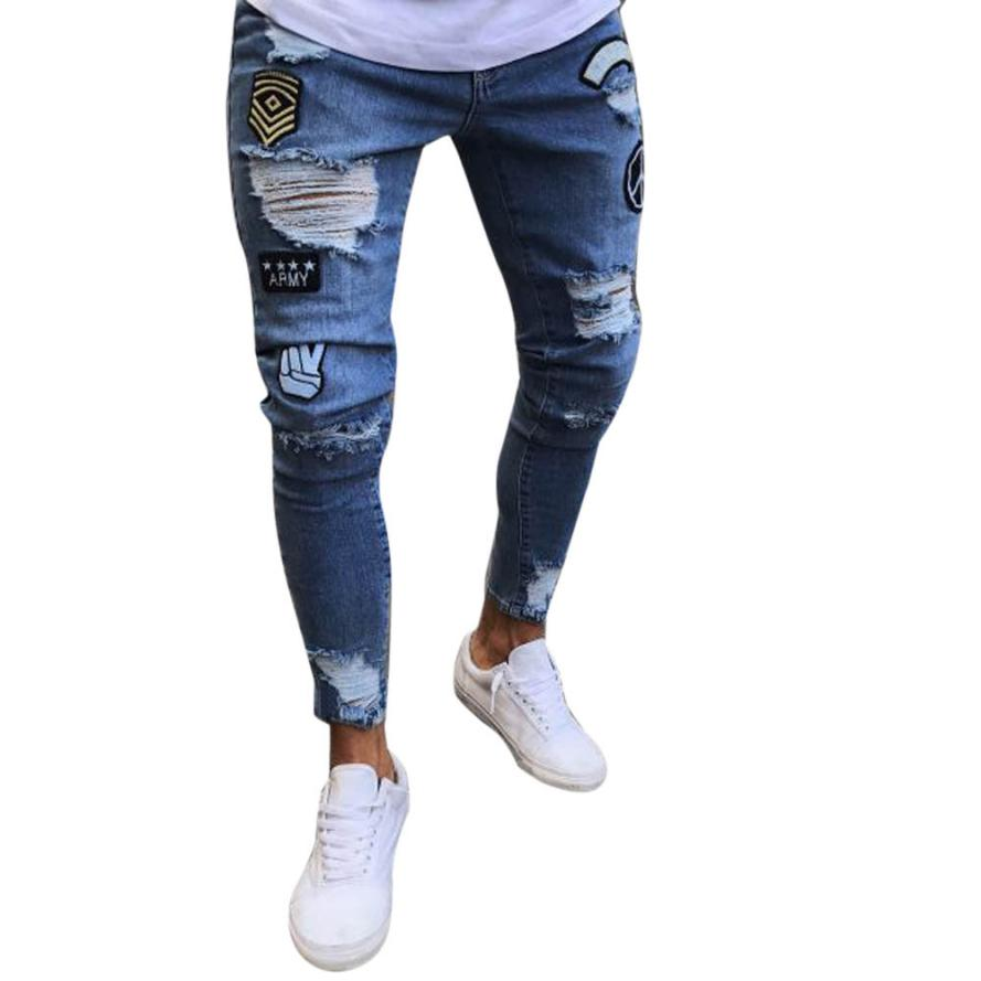 2018 Black Men Jeans Hiphop Zipper Stretch Knee Ripped Biker Jeans Hole Hip Hop Elasticity Skinny Denim Trousers Vintage Jeans