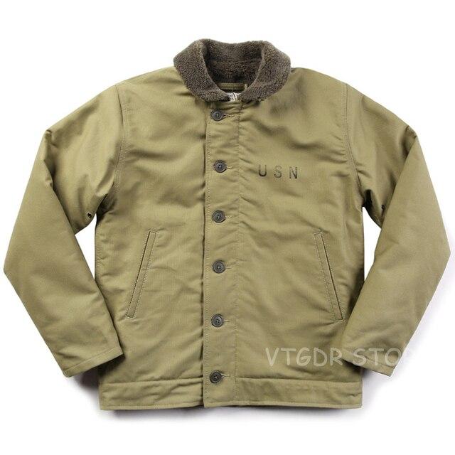 Vintage Bronson USN N-1 Deck Jacket WW2 Military Uniform Motorcycle Men's Coat 3 Colors