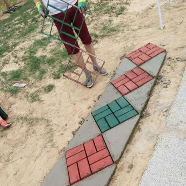 NEW Square Shape 8 Compartments Garden Strong Plastic Path Maker Mold Practical Manually Paving Cement Brick Stone Road DIY Mold