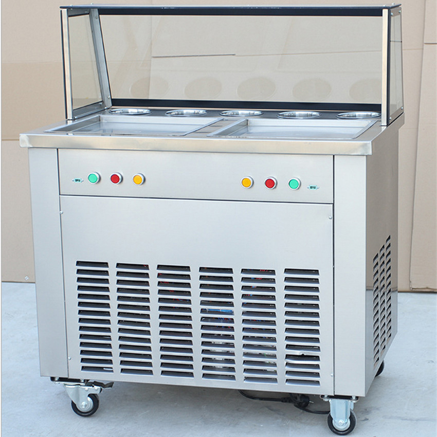 220 v Double pot Single pressure/Double pressure ice frying machine Double Pan Fried Ice Cream Machine double pressure ice frying machine double pan fried ice cream machine