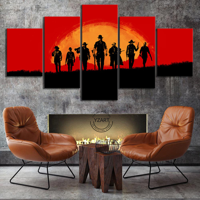 Video Games Poster Red Dead Redemption 2 Gutch's Gang Western Action Adventure Game Canvas Painting Wall Art Home Decor