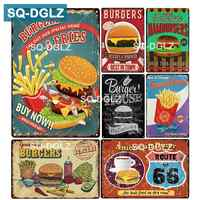[SQ-DGLZ] hamburgers & frites métal signe Bar décoration murale étain signe Vintage métal signes décor maison peinture Plaques Art affiche