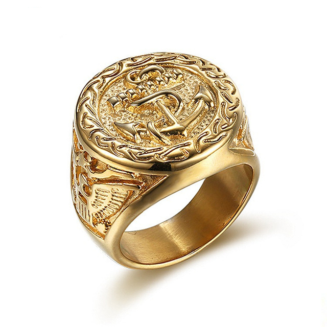 2018 New Top Quality Stainless Steel Punk Vintage gold colour Anchor Biker Ring