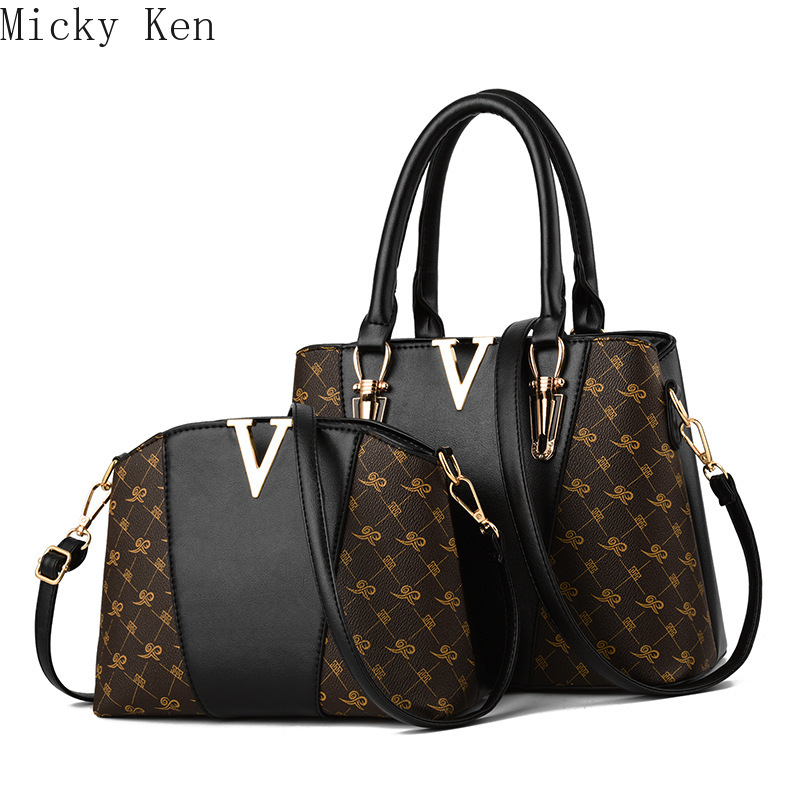 Women Bags Set 2 Pcs Leather Handbag Women Tote Bag Ladies Shoulder Bag For Women 2019 Messenger Bag Sac A Main