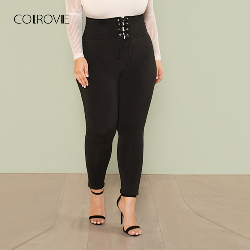 COLROVIE Plus Size Black Lace Up Wide Waistband Skinny Leggings Female 2018 New Women Sports Pants Fitness For Women Sexy Pants