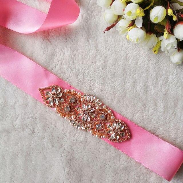 Beautiful Pink Rhinestone Maternity Sash Belt Pregnancy Photo Props