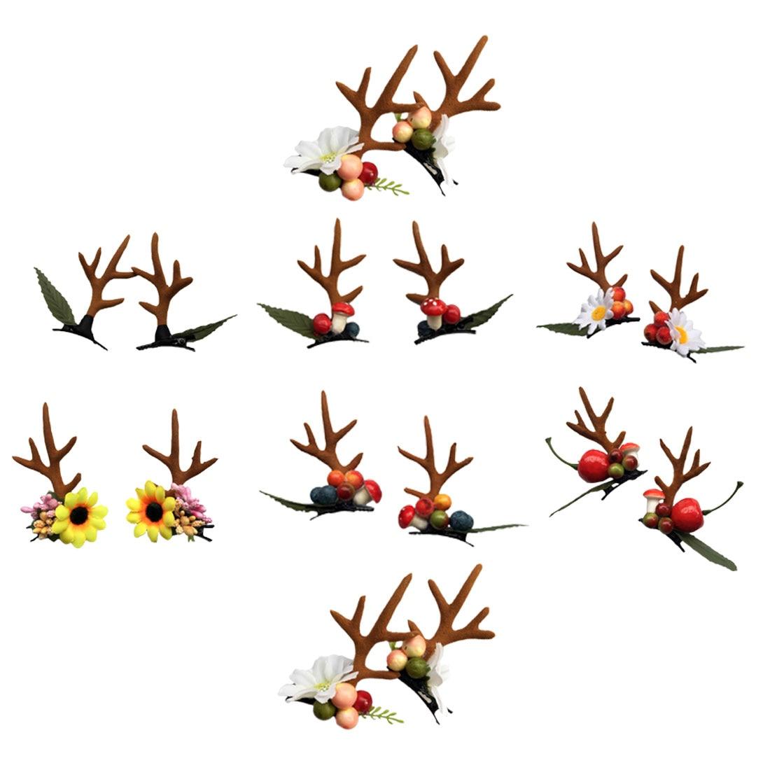 2PCS Teenage garden wind antler hairpin leaves mushroom simulation flower elk pair clip Christmas hair accessories