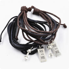 Black Men Leather Bracelet MEN Dumbbell Charm Bracelet Male Tag ME ME Gym Fitness Jewelry Gym Accessories Barbell Boy Friend(China)