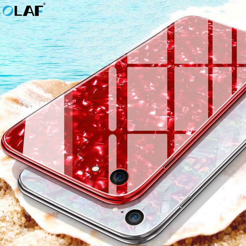 OLAF Tempered Glass Case for iphone 6 6s 7 8 plus Case Luxury Bling Shell Soft Solicone Frame Hard Back Cover for iphone X Coque