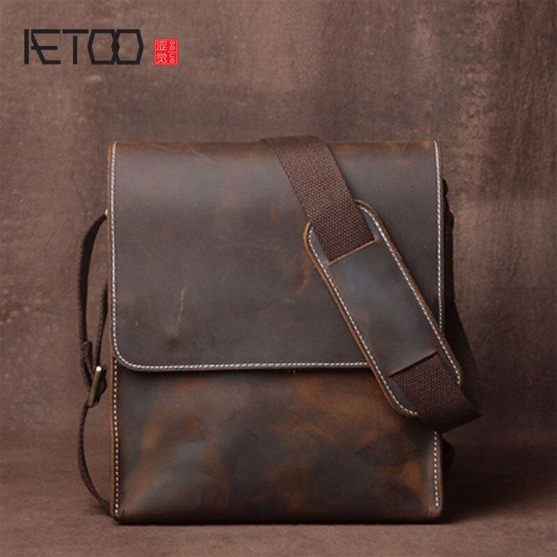 AETOO hombres bolso de hombro de cuero mensajero bolsa Vintage hecho a mano de cuero de Caballo Loco bolso