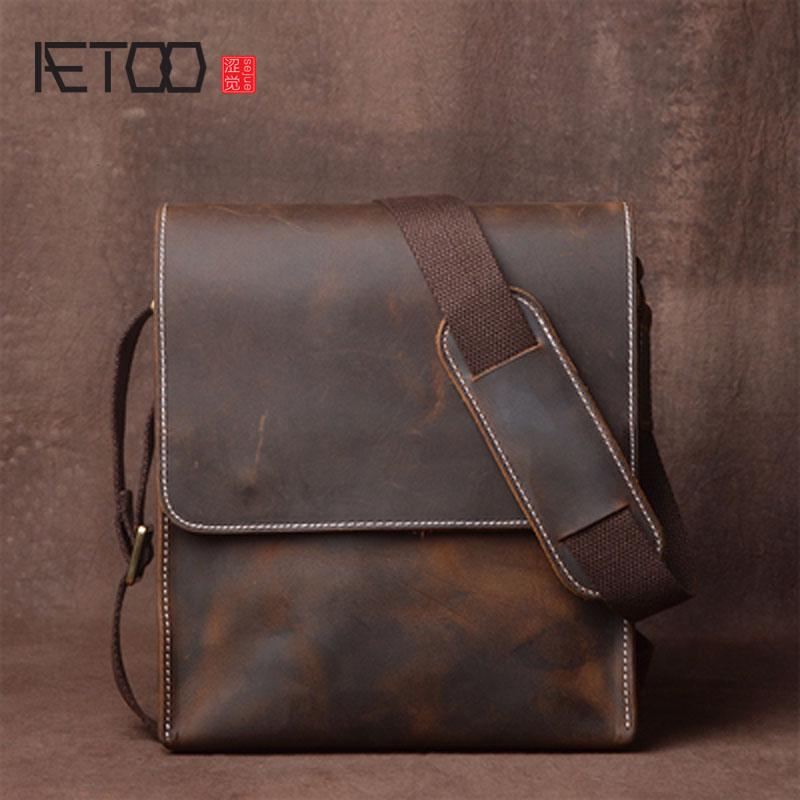 Sacchetto di Spalla degli uomini AETOO Manico In Pelle Messenger Bag Piccola Annata Handmade Crazy Horse Leather Bag