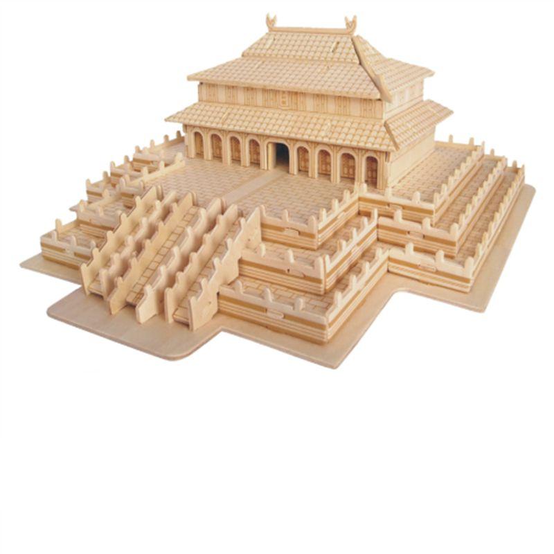 ФОТО 127Pcs/Lot Wooden Stitching Chinese Castle Building Blocks Simulation Toy Model Compatible Big Villa Models DIY 3D Wooden Puzzle