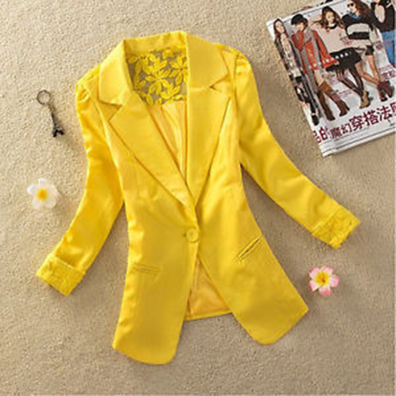 New Arrival Formal Women Blazer Single Button Office Coat Silm Autumn Fashion Casual Female's Jacket Shawl Collar Back Lace(China)