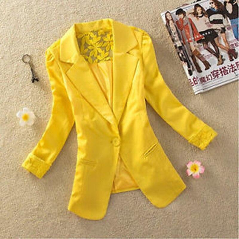 New Arrival Formal Women Blazer Single Button Office Coat Silm Autumn Fashion Casual Female's Jacket Shawl Collar Back Lace