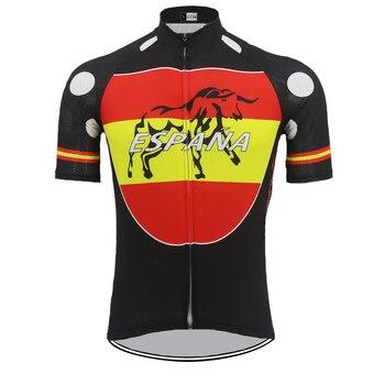 España Clásico hombres Pro equipo de ciclismo Jersey manga corta verano  círculo patrón ropa de ciclismo transpirable personalizado Espana 122f835b83460