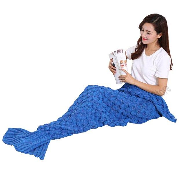 2016 Mody Ręcznie Dziane Ogon Syrenki Koc Utrzymać Ciepłe Crochet Mermaid Rzut Koc Dorosłych Łóżko Okład Śpiwór 90*190 cm
