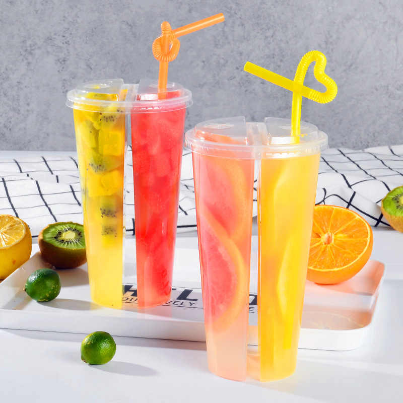 200pcs Double enjoy cup disposable 600ml transparent plastic milk tea cup thick juice drink packaging cups sharing cup with lids