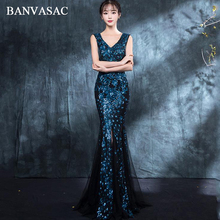 BANVASAC 2018 Sexy V Neck Sequined Mermaid Long Evening Dresses Elegant Split Zipper Backless Party Prom Gowns