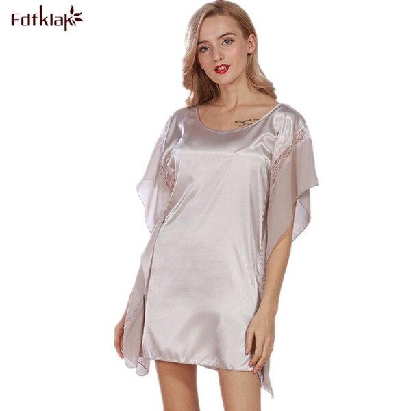 European Style Summer Women s Night Shirts Sexy Lingerie Dress Womens  Nightgown Silk Nightgown Sleepwear Red Black Nightwear 11e17dd53