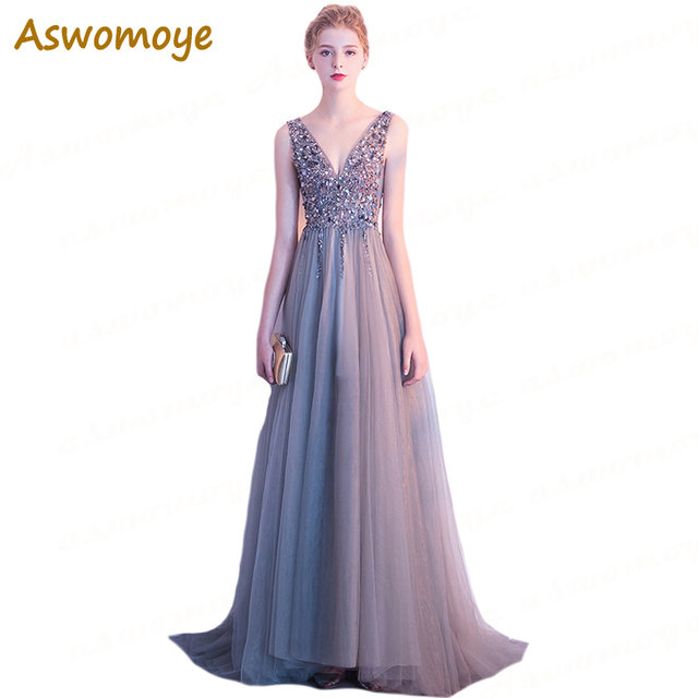 2018 New Stylish Long Evening Dress Sexy V-Neck Party Dresses Beading Open  Back A Line Luxury Formal Prom Dress robe de soiree 0914c58fc60e