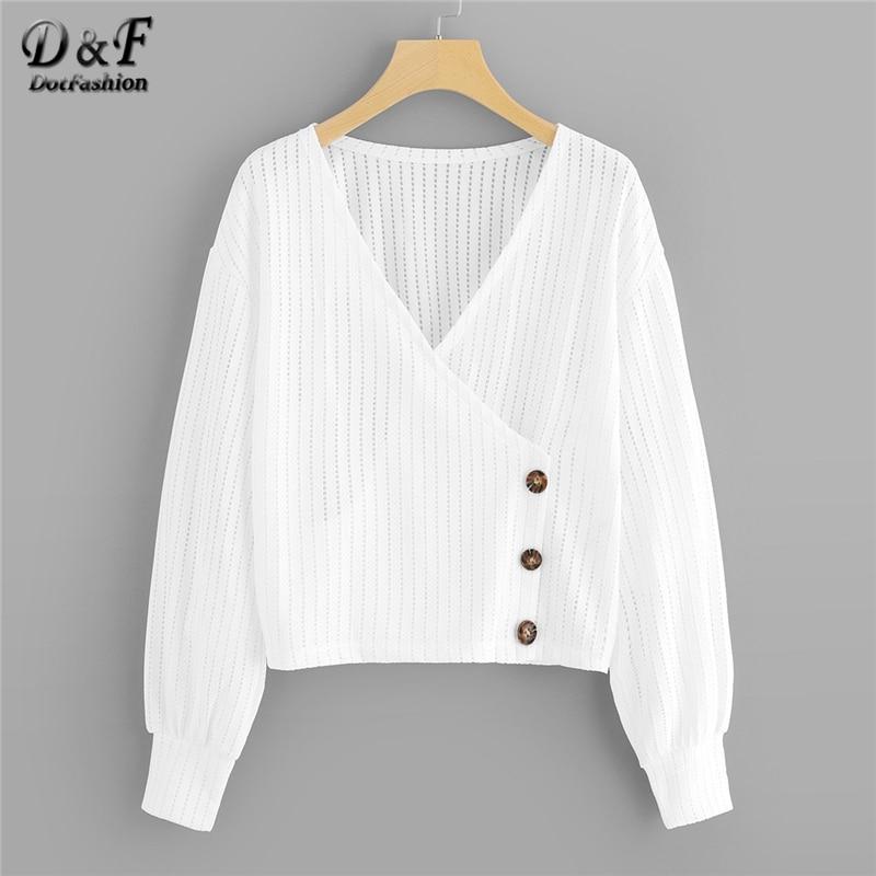 Dotfashion White Button Detail Wrap Women   Blouse     Shirt   Autumn Casual V Neck Long Sleeve Womens Clothing Spring Summer Plain Tops