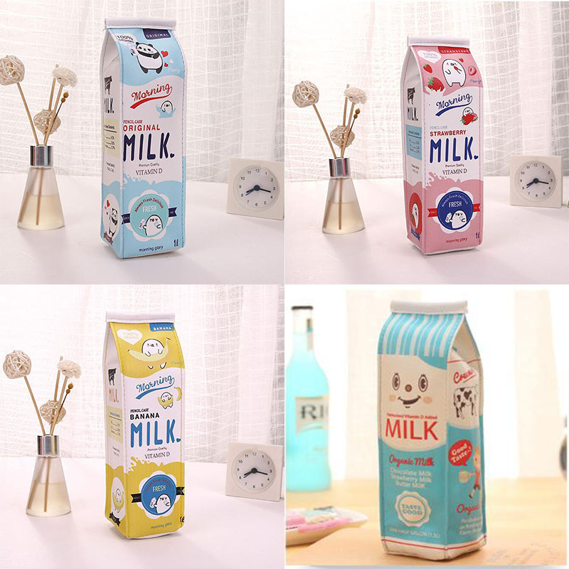Cartoon Milk bottle school pencil case cute PU pen bag storage pouch Korea Stationery material office school supplies escolar south korea stationery creative cartoon cute kitten pu wallet key bag storage material