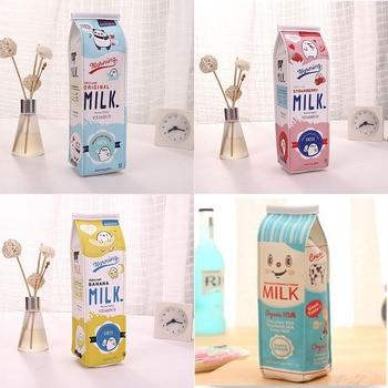 Cartoon Milk bottle school pencil case cute PU pen bag storage pouch Korea Stationery material office
