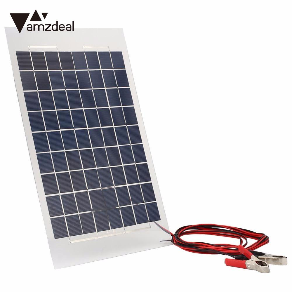 Outdoor 18V 10W Solar Charger Solar Panel External Portable for Car W/Crocodile Clips Professional Home Travelling Gift