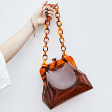 Ins PVC Clear Jelly Acrylic Chains Shoulder Bags for Women 2019 Acrylic Clip Handbags Lady Girls Design Messenger Bags Shell Sac
