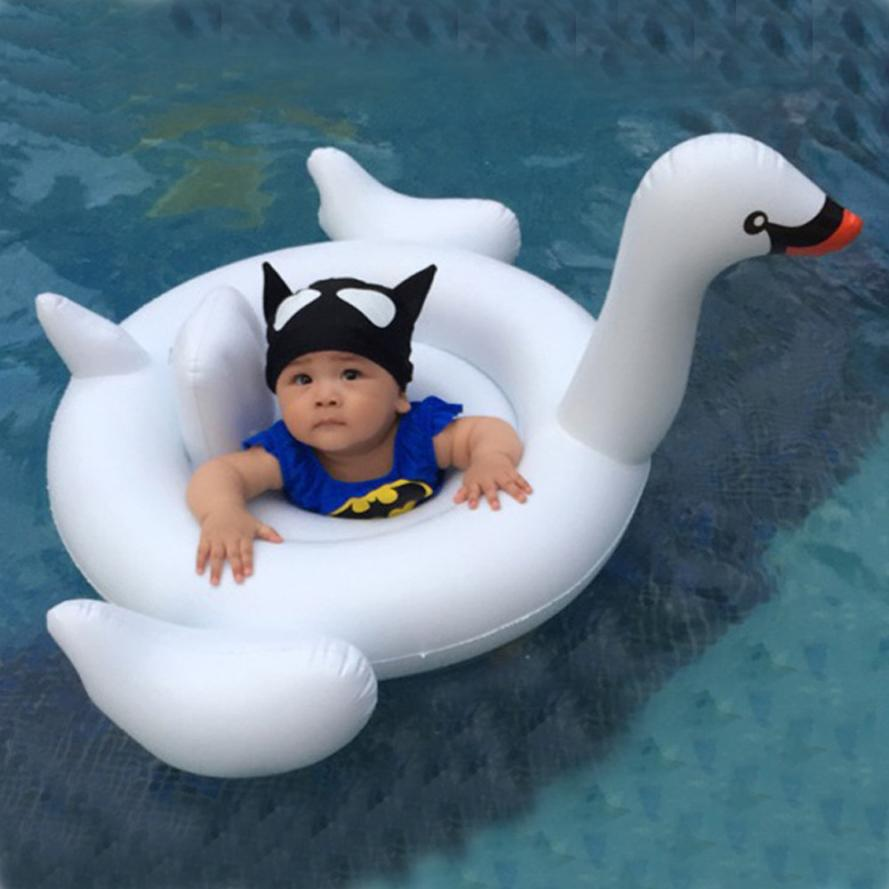 HOT Summer Beach Party Baby Kids Premium White Swan Baby Float Swimming Ring Inflatable Seat Boat Pool ng0!