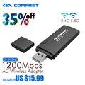 802.11AC 1200 Mbps comfast adaptador usb wi-fi de Doble Banda 2.4 Ghz/5 Ghz Wireless USB/WiFi Adaptador de CA con el botón WPS wifi dongle