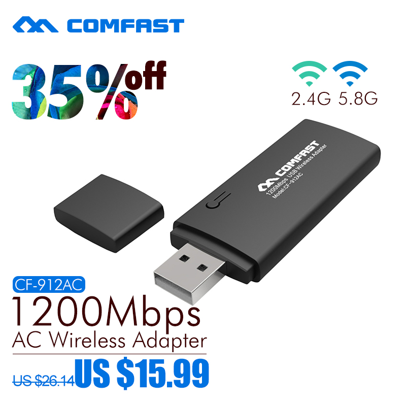 comfast 802.11AC 1200Mbps usb wi-fi adapter Dual Band 2.4Ghz/5Ghz USB Wireless/WiFi AC Adapter with WPS button wifi dongle