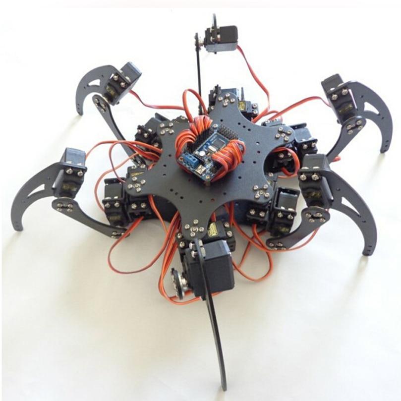 все цены на JMT 18DOF Aluminium Hexapod Robotic Spider Six Legs Robot Frame Kit with Remote Controller F17328