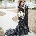 Black Gothic Wedding Dresses Mermaid Lace Wedding Gowns Halloween Bride Bridal Dress robe de mariage