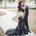 Preto gótico vestidos de casamento da sereia Lace vestidos de casamento noiva dia das bruxas vestido nupcial robe de mariage