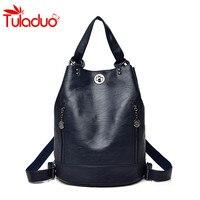2018 Women's Multifunction Backpack Leather Women Shoulder Bags Student Bags Backbag Female Zipper School Bag Travel Bag Mochila