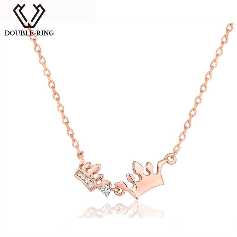 DOUBLE-R Argent Collier Femmes 925 Sterling Argent Couronne 0.03ct Diamant Collier Romantique Noir Vendredi Fine Bijoux Personnalisé
