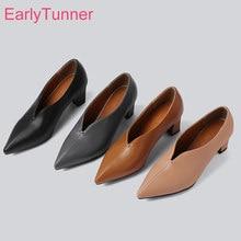 Popularna marka nowy Sexy Apricot brązowy kobiety formalne pompy 2 cal wysokie obcasy Lady Nude buty ES196 Plus duży mały rozmiar 10 28 43 46