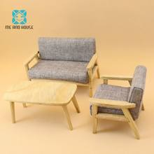 me and house 1/12 dollhouse furniture sofa sets dolls decoration handmade simulation mini furniture nordic style(China)