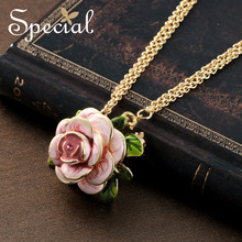 Special Wedding Maxi Necklace Enamel Rose Necklaces Pendants Romantic Flower European Style Jewelry Gifts for Women