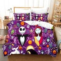 Yi chu xin nightmare befor christmas bedding set luxury skull duvet cover set and pillowcase full size bed set