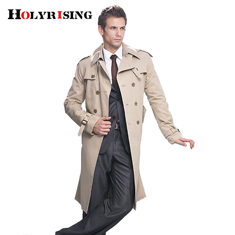 Holyrising Trench Coat Men Classic Double Breasted Mens Clothing Long Jackets Coats