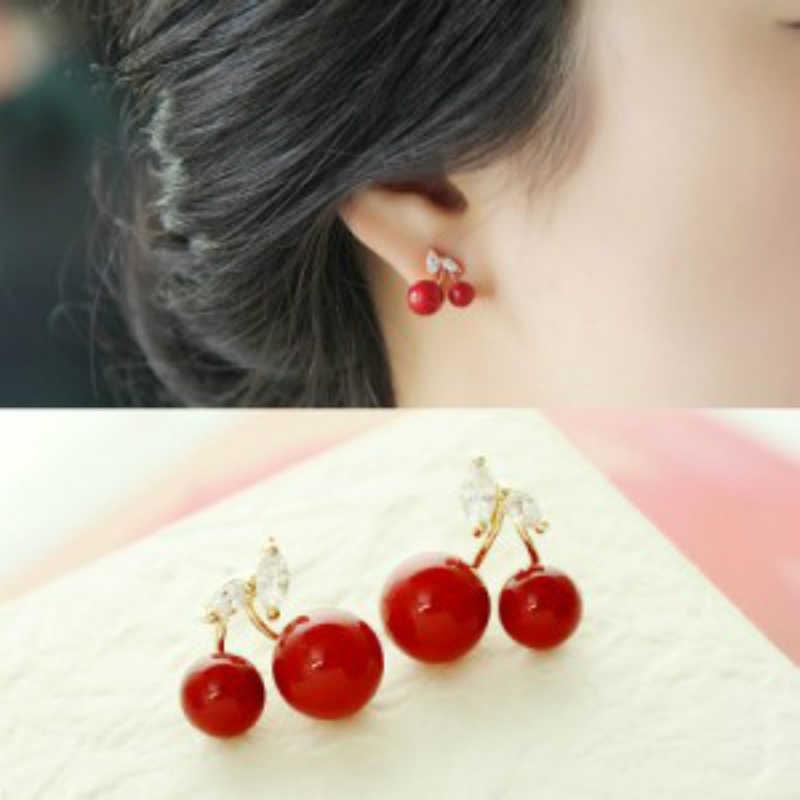 Baru Fashion Anting-Anting Fashion Perhiasan Merah Manis Buah Ceri Sederhana Anting-Anting Mewah Desainer Perhiasan untuk Wanita Oorbellen