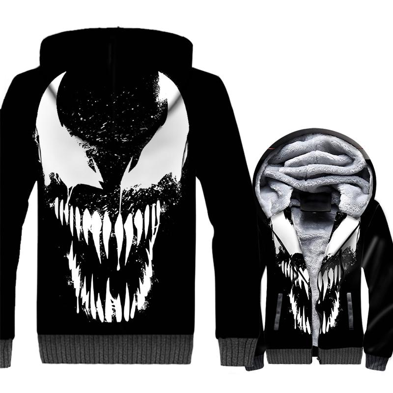 Venom 3D Hoodies Men Movie Super Hero Sweatshirt Harajuku Coat 2019 Hot Sale Winter Thick Fleece Warm Jacket Streetwear