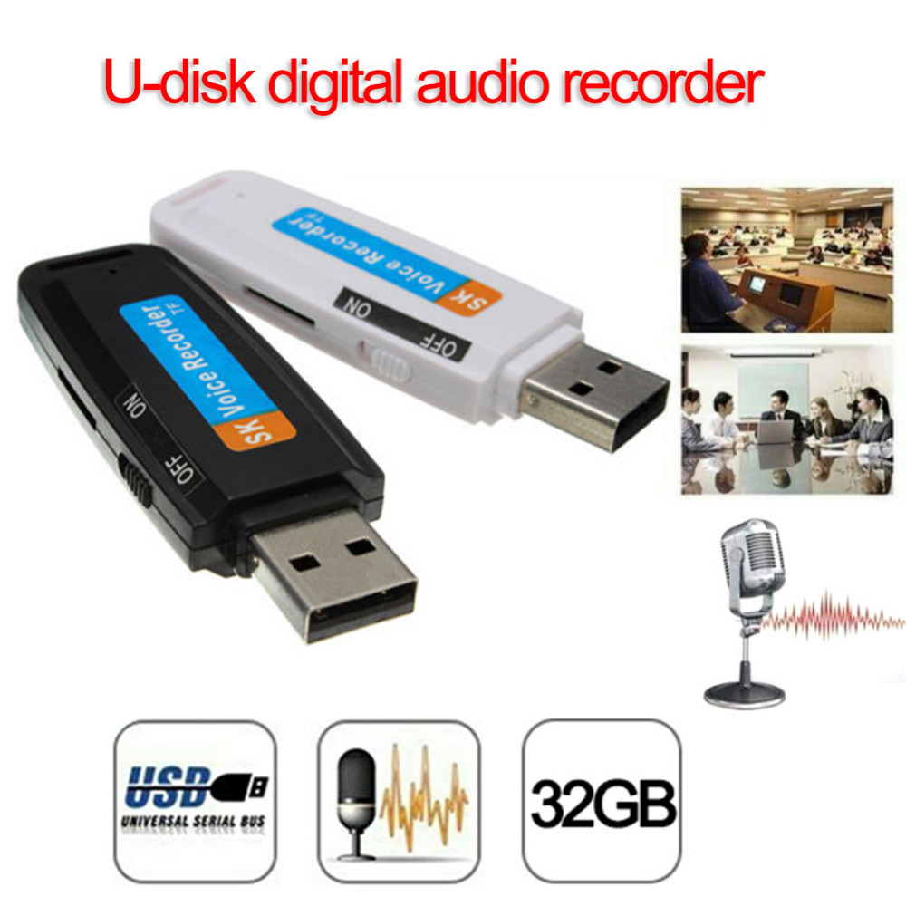 2018 New U-Disk Digital Audio Voice Recorder Pen charger USB Flash Drive up to 32GB Micro SD TF ...