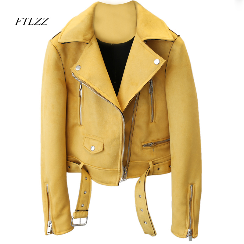 FTLZZ Women New Motorcycle Faux Pu   Leather   Fashion Slim Belted long sleeve Short Coats   Suede   Jackets coat