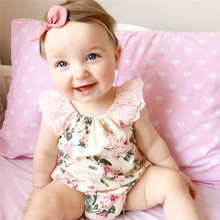 Cute Baby Girl Rompers Lace Floral Print Toddler Clothes Infant Newborn Jumpsuit Summer Dress Girl Baby Clothes