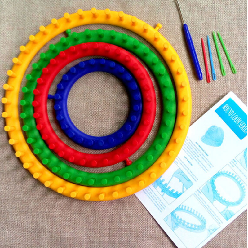 4 Size Colorful Knitting Loom Set Knitting Machine Round Circle Hat Knitter Wool Yarn Needles Hook Sewing Tools For Hats Scarves