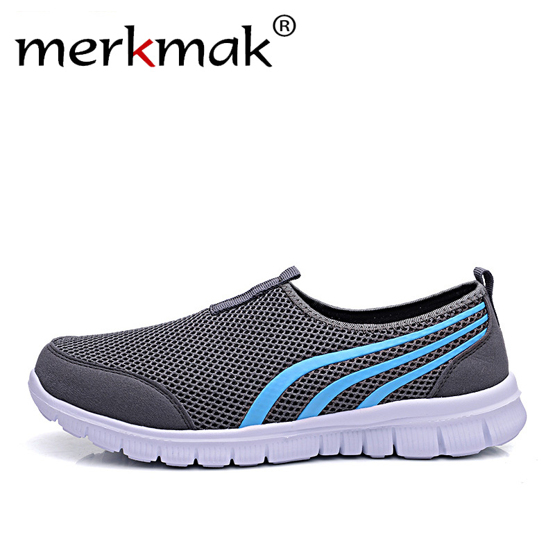 Merkmak New 2018 Summer Fashion Men Sneakers Soft Light Comfort Casual Shoes Breathable Lovers Mesh Foowear Big Size 35-48